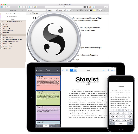 Screenshot of Scrivener and Storyist